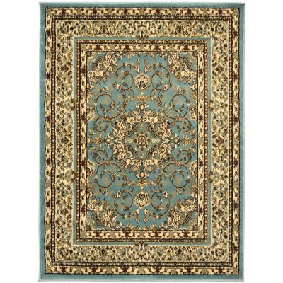 King Collection Isfahan Oriental Medallion Seafoam 5 ft. x 7 ft. Indoor Area Rug