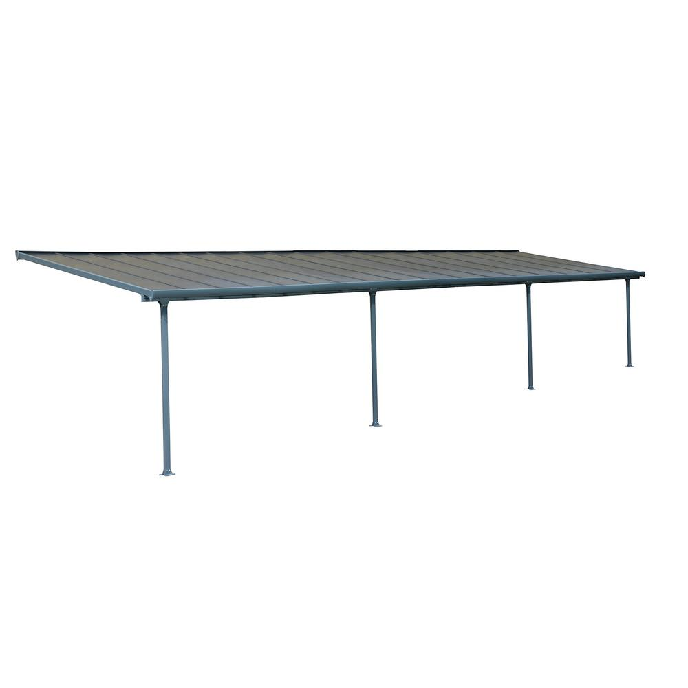 Palram Feria 10 Ft. X 34 Ft. Grey Patio Cover Awning