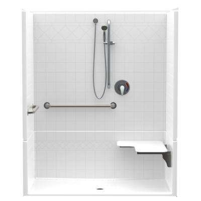 Accessible Diagonal Tile AcrylX 60 in. x 34 in. x 75.5 in. 4-Piece Shower Kit, RH Seat, Center Drain in White