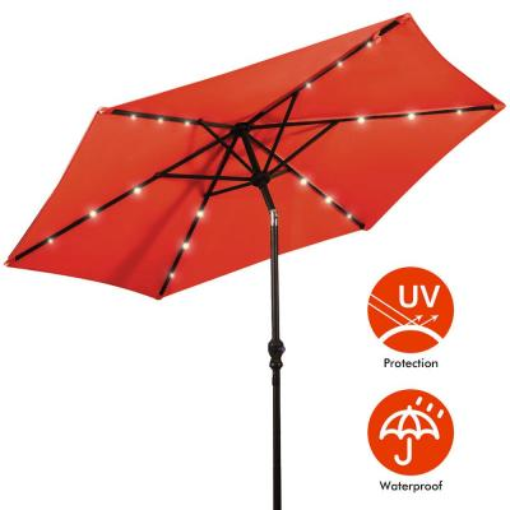 9 ft. Steel Cantilever Solar Tilt Patio Umbrella LED Lights with Crank Orange