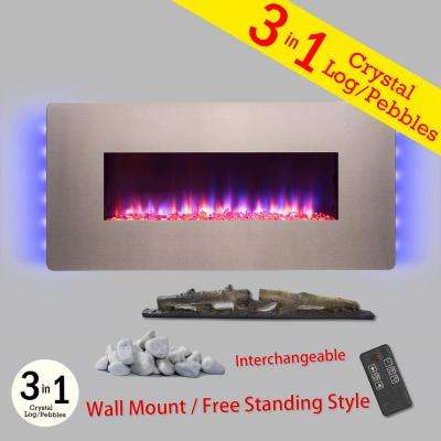 48 in. Wall Mount Freestanding Convertible Electric Fireplace Heater in Gray with Pebbles Logs Crystal Remote Control