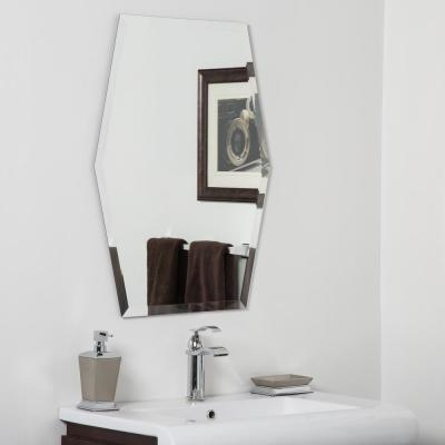 23 in. W x 31 in. H Frameless Hexagon Beveled Edge Bathroom Vanity Mirror in Silver