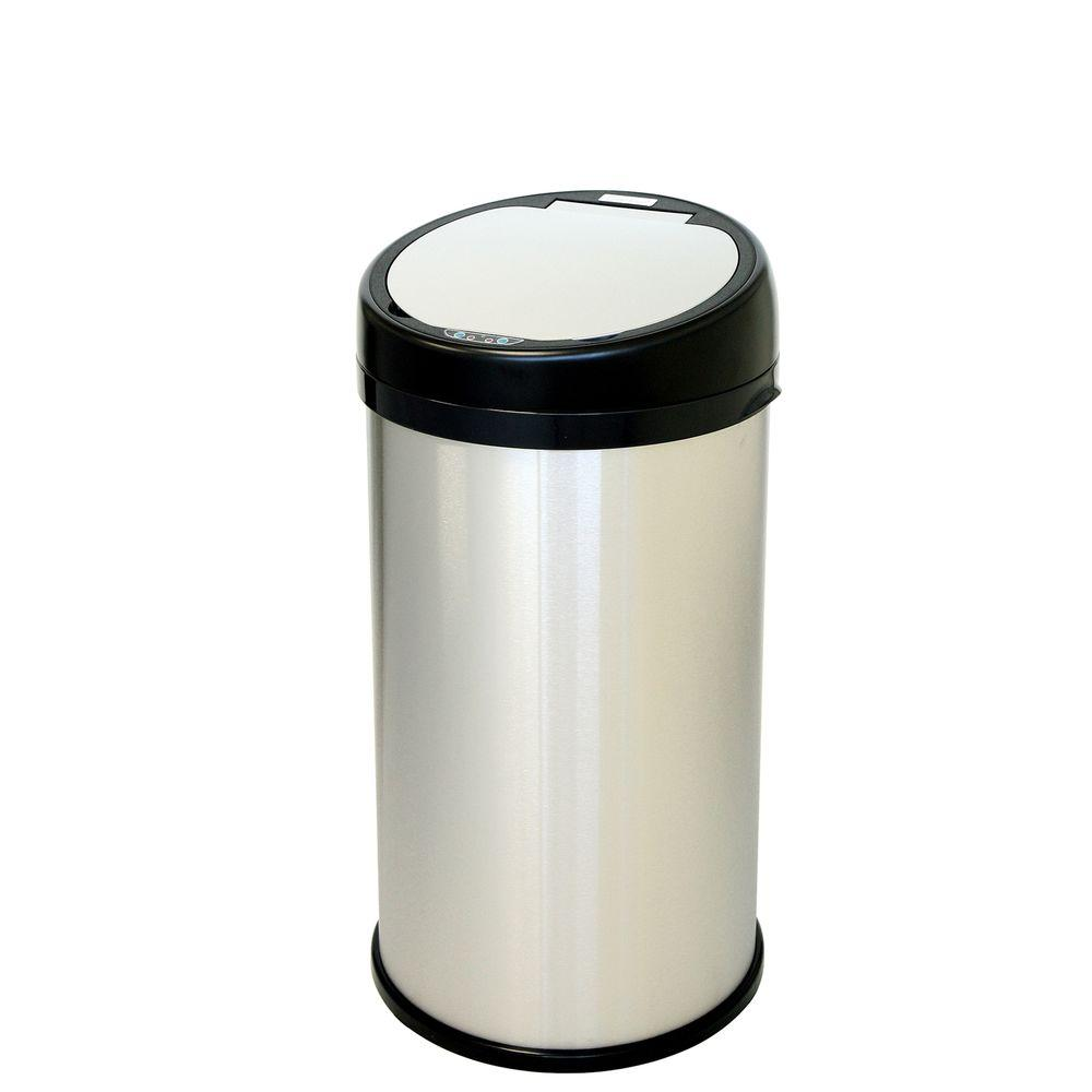 13 Gal. Stainless Steel Round Extra-Wide Lid Opening Motion Sensing Touchless