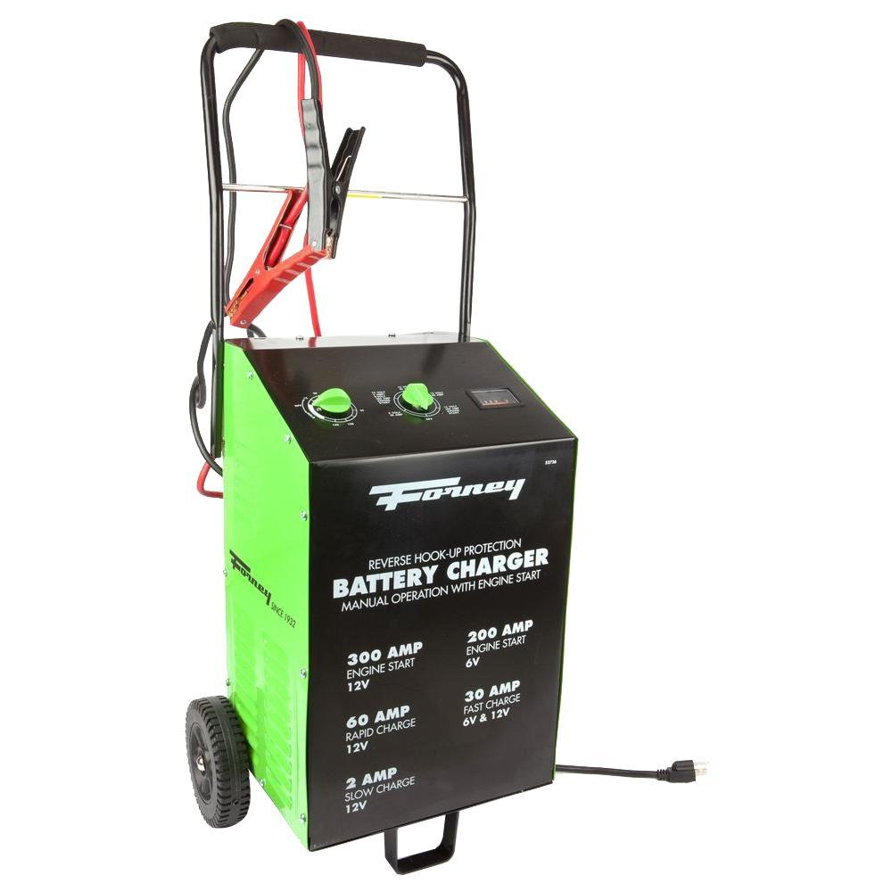 Forney 2/30/60/300 Amp 6/120-Volt Wheeled Battery Charger...