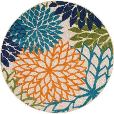 Aloha Green 5 ft. 3 in. x 5 ft. 3 in.  Indoor/Outdoor Round Area Rug