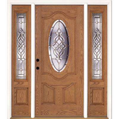 63.5 in.x81.625 in. Lakewood Brass 3/4 Oval Lite Stained Light Oak Right-Hand Fiberglass Prehung Front Door w/ Sidelites