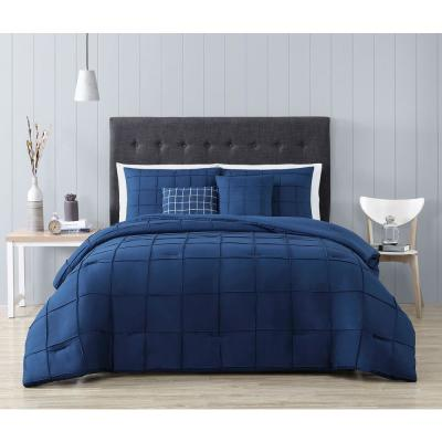 Nelli 5-Piece Navy Queen Box-Pinch Pleat Comforter Set with Throw Pillows