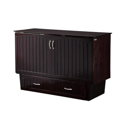 Nantucket Murphy Bed Espresso Queen Chest with Charging Station and Coolsoft Mattress