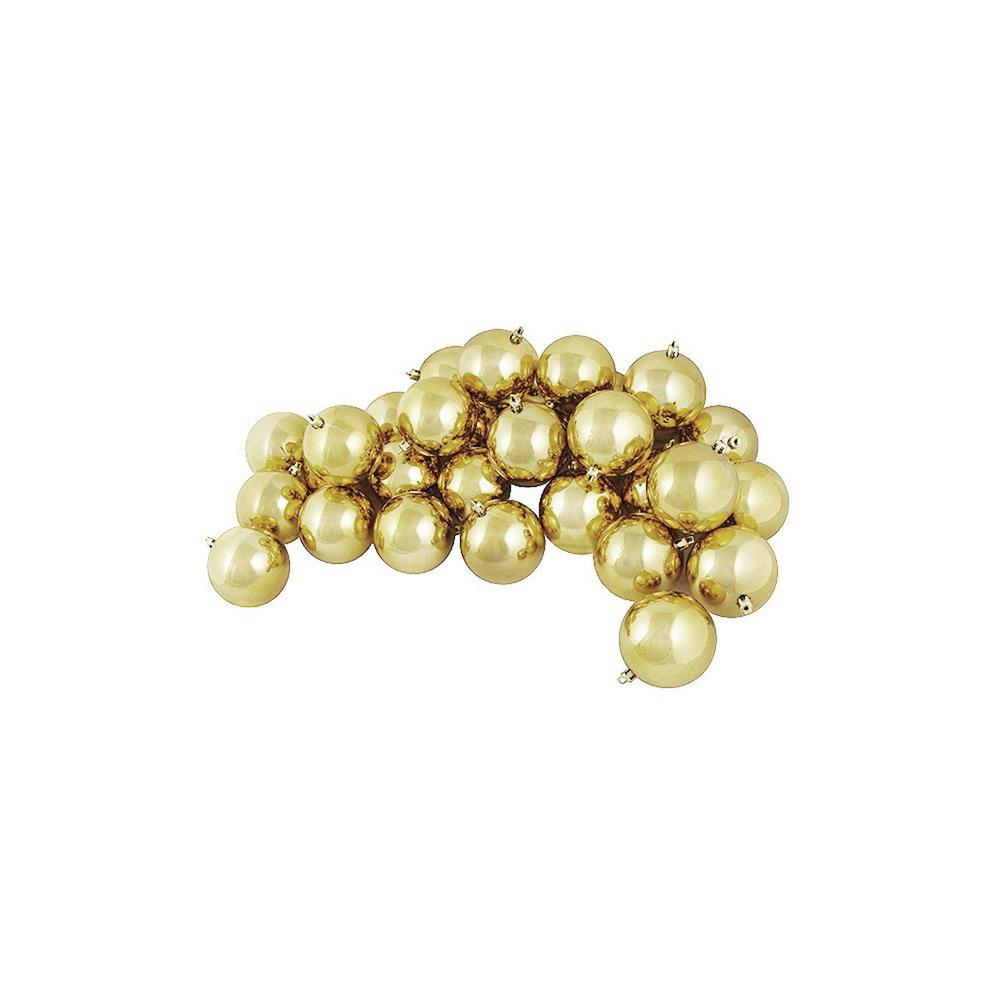 60 mm shatterproof shiny champagne gold christmas ball ornaments