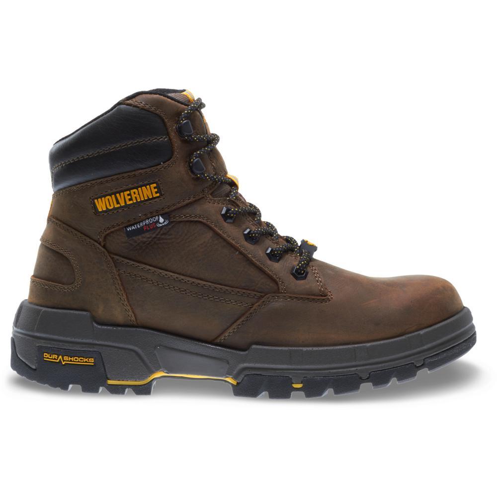 "Wolverine Men's Legend Size 10M Brown Full-Grain Leather Waterproof Composite Toe 6"" Boot"