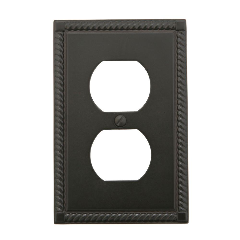 Amerelle Georgian 1 Duplex Wall Plate - Oil Rubbed Bronze
