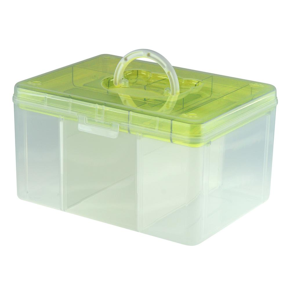 Livinbox 12.8 in. x 9.7 in. Hobby and Crafts Portable Storage Box with Removable Top Organizer Tray and Dividers in Green