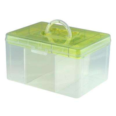 12.8 in. x 9.7 in. Hobby and Crafts Portable Storage Box with Removable Top Organizer Tray and Dividers in Green