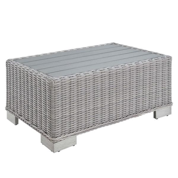 Conway 32 in. Wicker Outdoor Coffee Table in Light Gray