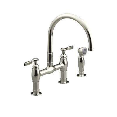 Parq 2-Handle Bridge Kitchen Faucet with Side Sprayer in Vibrant Polished Nickel
