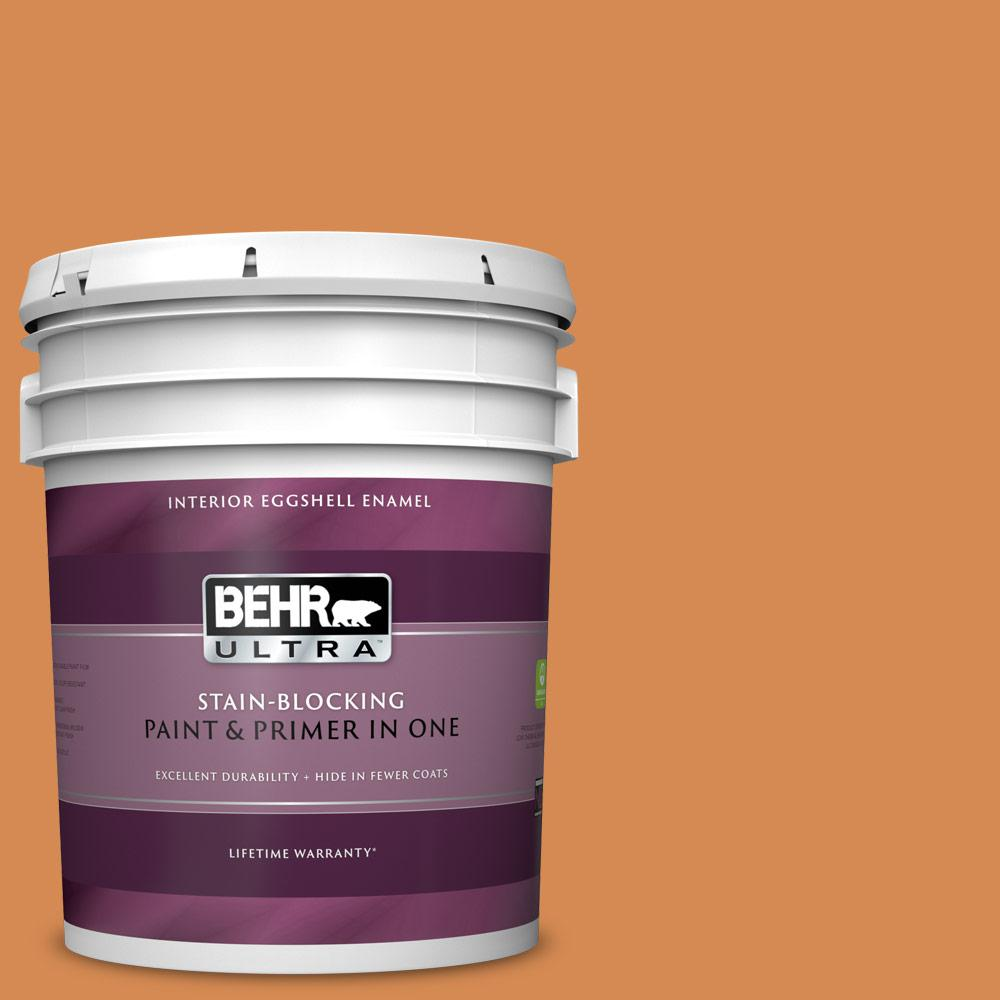 Behr Ultra 5 Gal 260d 5 Amber Wave Eggshell Enamel Interior Paint And Primer In One 275305 The Home Depot