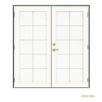 72 in. x 80 in. W-2500 Green Clad Wood Left-Hand 10 Lite French Patio Door w/White Paint Interior