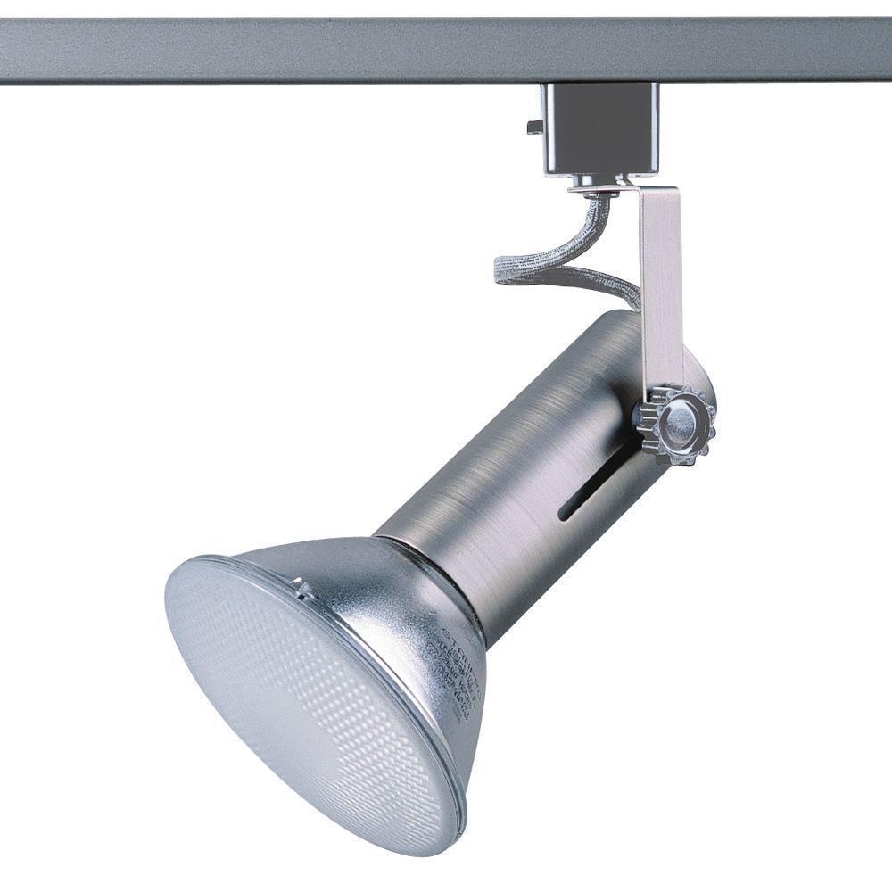 Universal Line-Voltage Brushed Steel Track Lighting Fixture