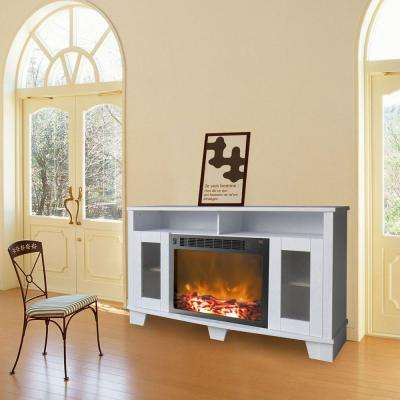 Savona 59 in. Electric Fireplace in White