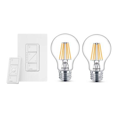 Caseta Wireless Smart Lighting Dimmer Switch and Remote Kit and 2 Philips A19 LED Light Bulbs with Warm Glow Effect