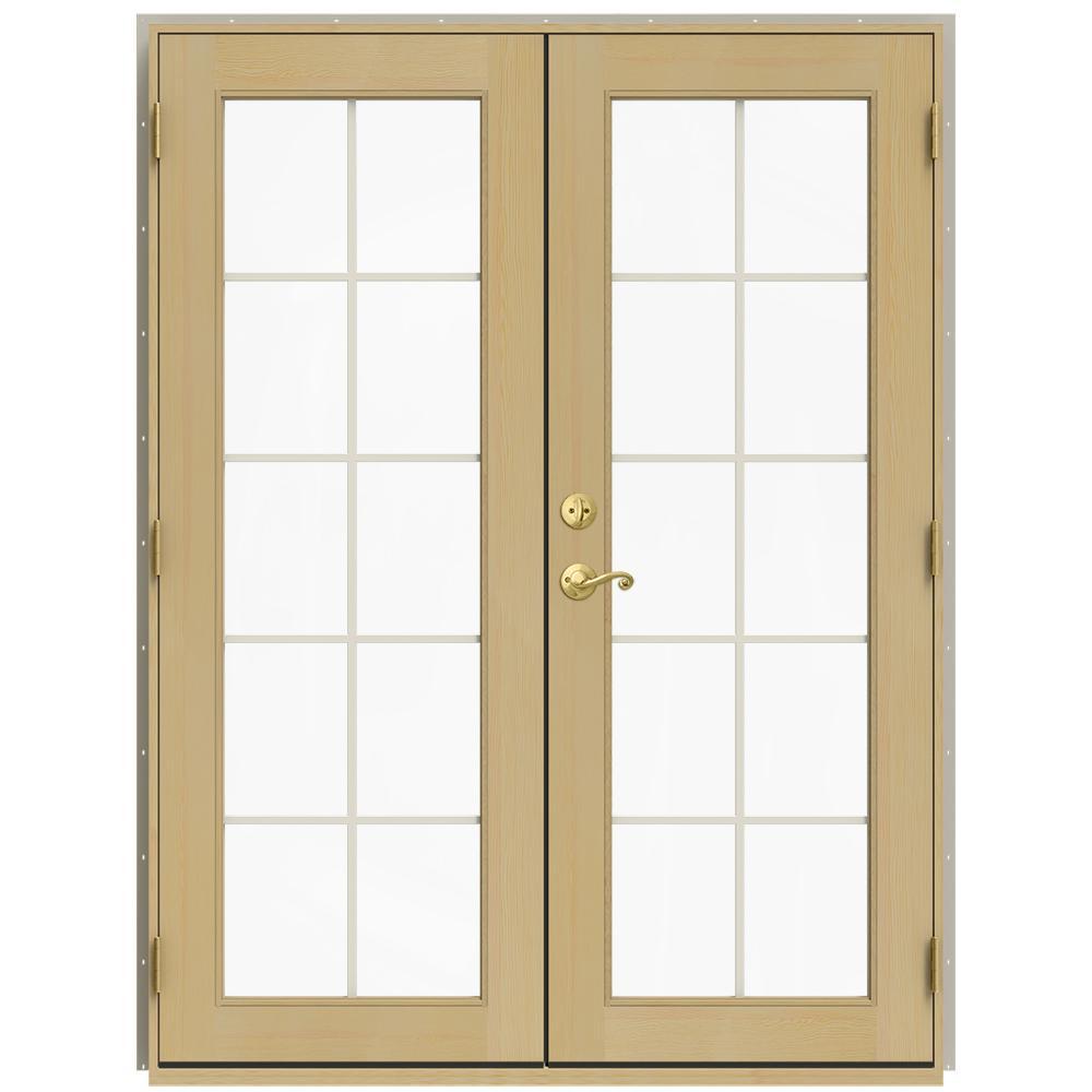 59.5 in. x 79.5 in. W-2500 Desert Sand Left-Hand Inswing French Wood Patio Door