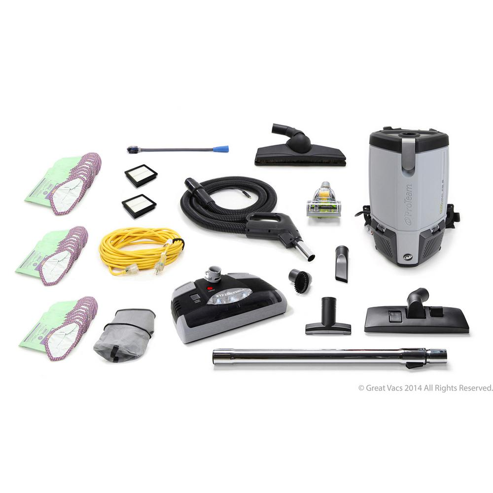 ProTeam Fully Loaded More Powerful ProVac FS6 6 Qt. Commercial Backpack Vacuum Cleaner with Electric Power Head