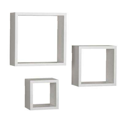 9 in. x 9 in., 7 in. x 7 in., 5 in. x 5 in., Square Wood Shelves in White (Set of 3)