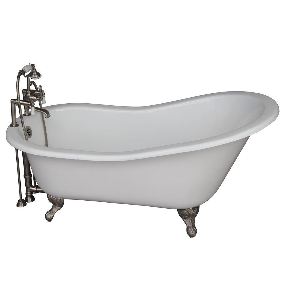 Barclay Products 5 ft. Cast Iron Ball and Claw Feet Slipper Tub in White with Brushed Nickel Accessories