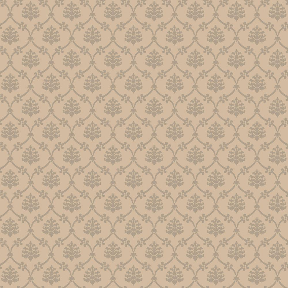 The Wallpaper Company 8 in. x 10 in. Latte Linked Medallions Wallpaper Sample-DISCONTINUED