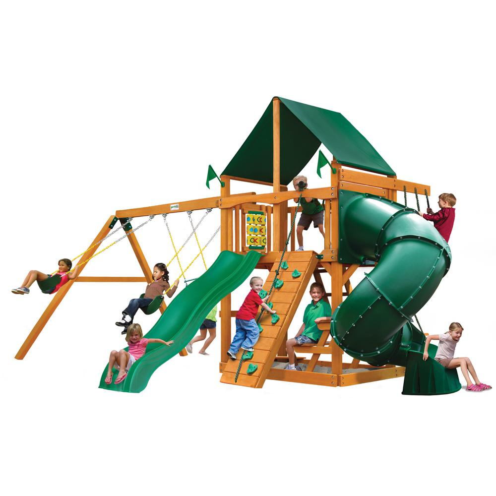 Gorilla Playsets Mountaineer Wooden Swing Set with Sunbrella® Canvas Canopy and Rock Wall