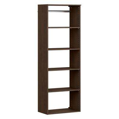 Style+ 14.59 in. D x 25.12 in. W x 71.6 in. H Chocolate Wood Closet System Hanging Tower