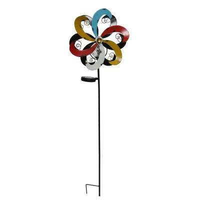 Solar Multi-Color Metal Windmill with Ball
