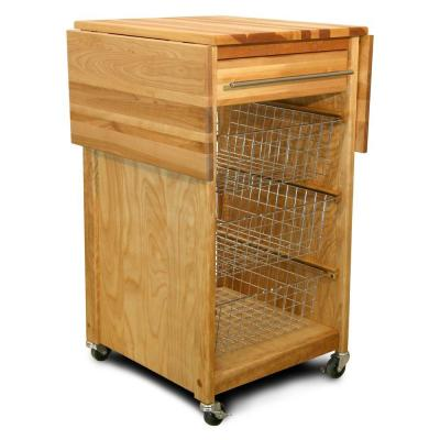 Contemporary Natural Wood Kitchen Cart with Drop Leaf