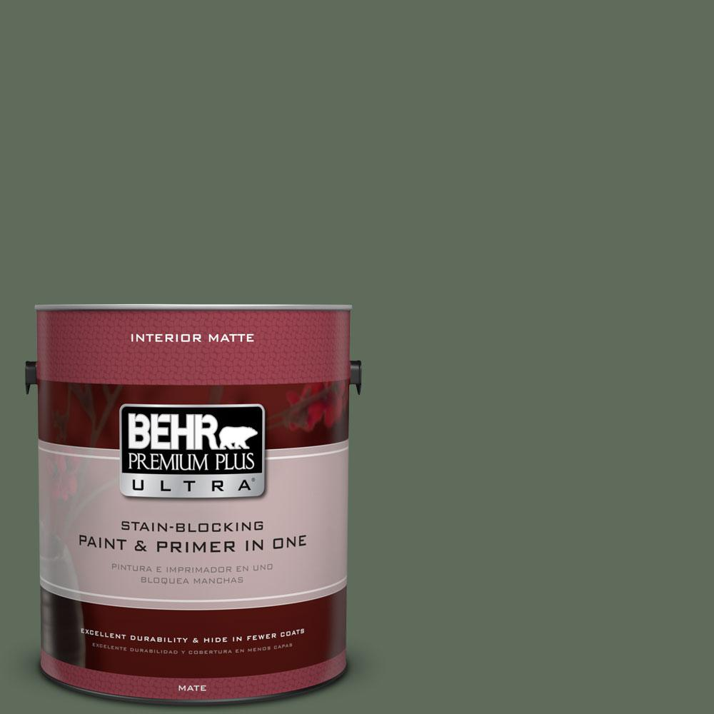1 gal. #450F-6 Whispering Pine Matte Interior Paint and Primer in