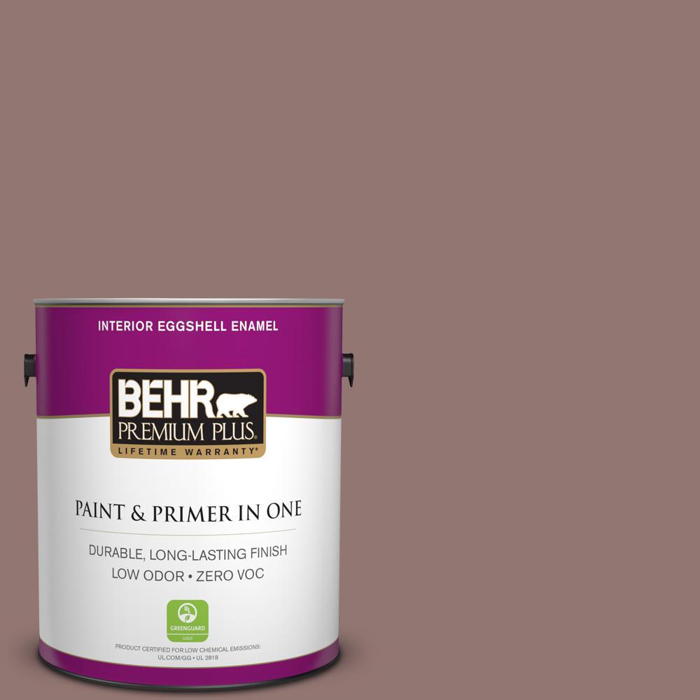 BEHR Premium Plus 1-gal. #710B-5 Milk Chocolate Zero VOC Eggshell Enamel Interior Paint