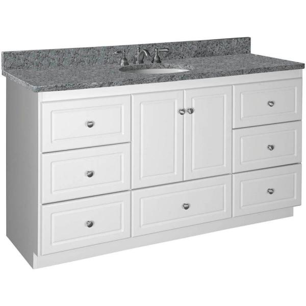 Shaker 60 in. W x 21 in. D x 34.5 in. H Vanity for Center Basin Cabinet Only in Satin White