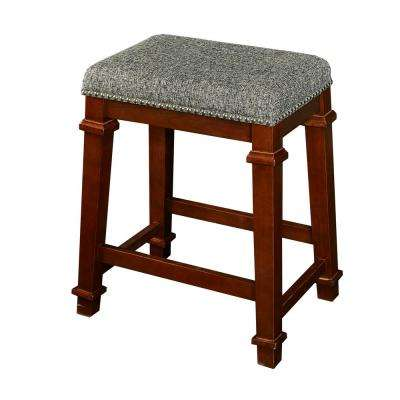 Kennedy 24 in. Walnut Cushioned Bar Stool