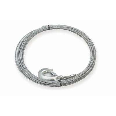 60 ft. x 7/32 in. Replacement Galvanized Steel Wire Rope with Hook for the S4000 Winch
