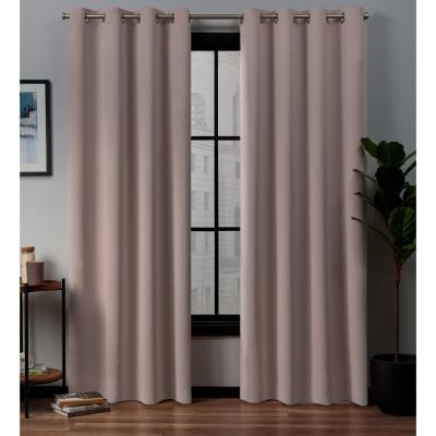 Exclusive Home Curtains Academy 52 In W X 84 In L Woven Blackout Grommet Top Curtain Panel In Blush 2 Panels Eh8282 04 2 84g The Home Depot