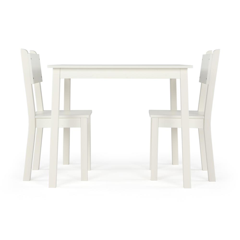 3 piece white large rectangular kids wood table and chair set cl374 the home depot. Black Bedroom Furniture Sets. Home Design Ideas
