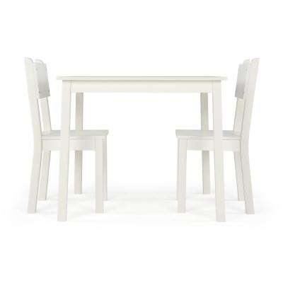 3-Piece White Large Rectangular Kids Wood Table and Chair Set