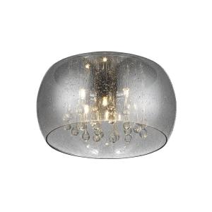 Home Decorators Collection 5 Light Chrome Glass Integrated Led Flushmount With Clear Glass Beads