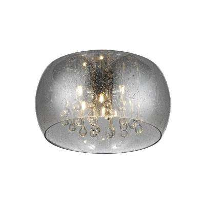 5-Light Chrome Glass with Clear Glass Beads LED Flush Mount