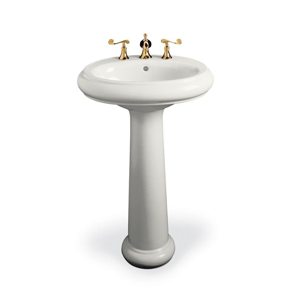 KOHLER Revival Pedestal Combo Bathroom Sink in White-DISCONTINUED