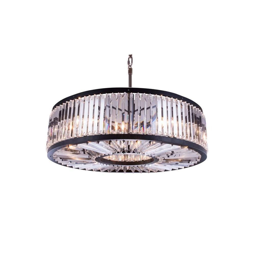 Elegant Lighting Chelsea 10-Light Mocha Brown Chandelier with Clear Crystal