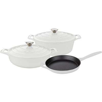 5-Piece Enameled Cast Iron Cookware Set with Saute, Skillet and Oval Casserole in White