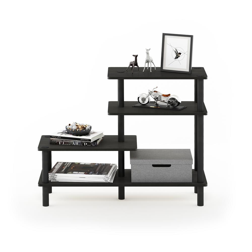 25.2 in. Espresso/Black Plastic 4-shelf Etagere Bookcase with Open Back