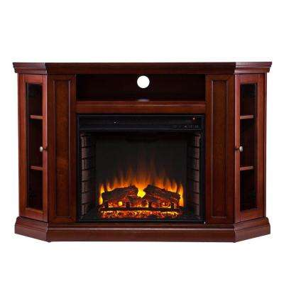 Carter 48 in. Convertible Media Electric Fireplace TV Stand in Brown Mahogany