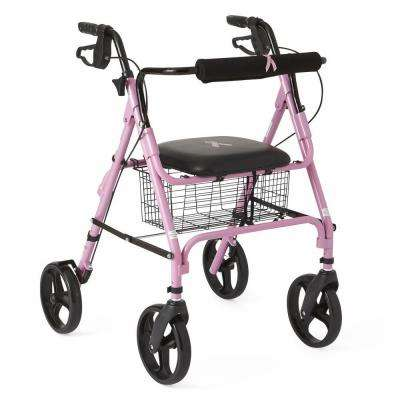 Aluminum Lightweight Folding 4-Wheel Rollator in Pink