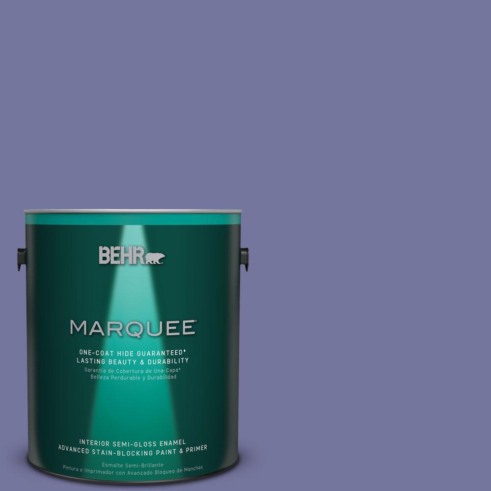 1 gal. #M550-6 Kimono Violet One-Coat Hide Semi-Gloss Enamel Interior Paint